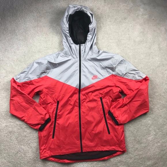 Nike Packable Windrunner Full Zip Jacket Grey Red NWT